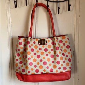 melie bianco orange polka dot tote handbag